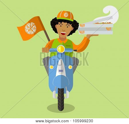 Food-deliveryboy On A Scooter With Boxes Of Pizza, Flat