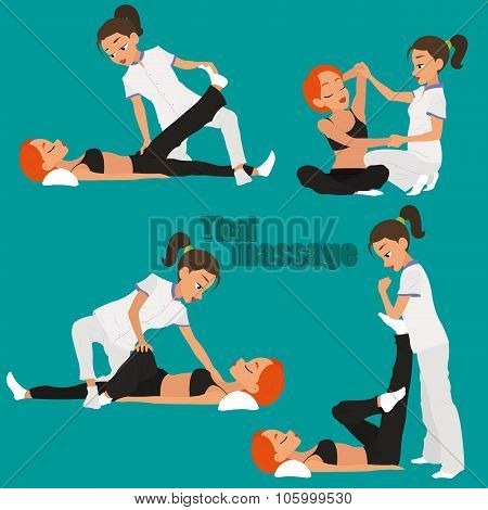Thai massage. Yoga. vector illustration