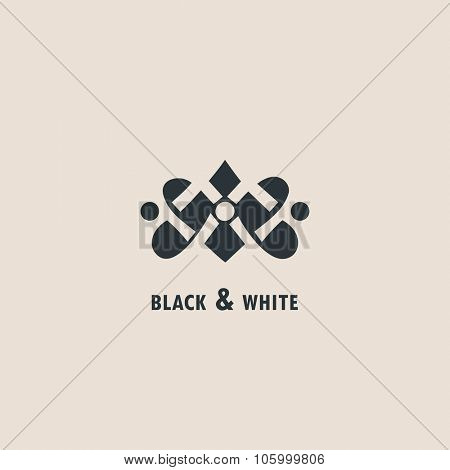 Vintage luxury emblem and logo. Abstract fashion ethnic print. Calligraphic flourishes. Black and white vector ornament. Business sign for Restaurant, Royalty, Cafe, Hotel, Heraldic and Jewelry stamp