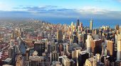 Chicago downtown aerial panorama view at sunset with skyscrapers and city skyline at Michigan lakefr poster