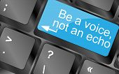 Постер, плакат: Be A Voice Not An Echo Computer Keyboard Keys With Quote Button Inspirational Motivational Quote