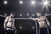 Постер, плакат: MMA fighters in octagon arena before fight