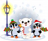 stock photo of polar bears  - Christmas carolers  - JPG