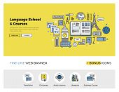 Постер, плакат: Language School Flat Line Banner