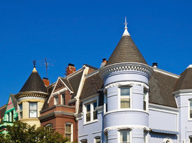 stock photo of victorian houses  - Old Houses in Georgetown - JPG