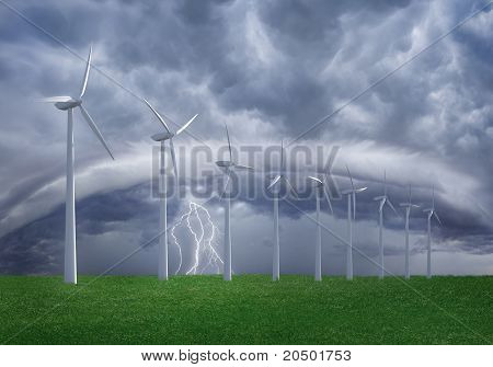 Wind farm at shtorm.