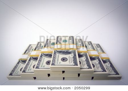 Stacks Of Ten Thousand Dollar Piles Of One Hundred Dollar Bills