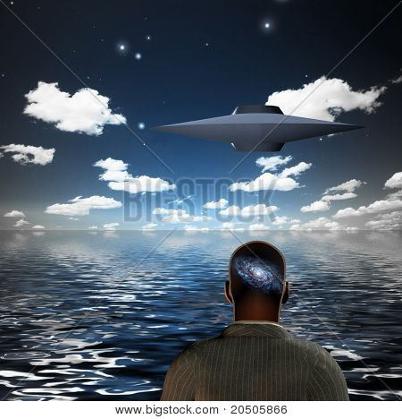 human with galaxy in head before floating saucer shaped craft