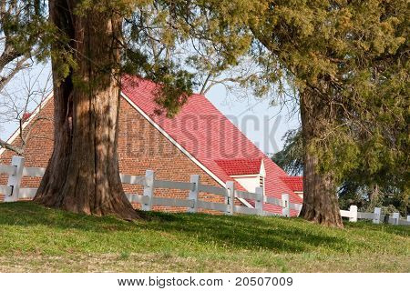 Red-Roofed Brick Building