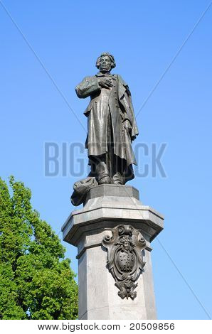Adam Mickiewicz Statue In Warsaw, Poland