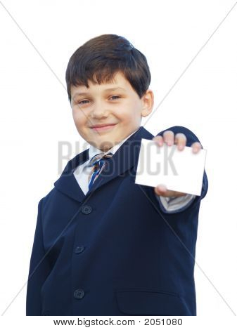 Schoolboy With Blank White Card, Smiling