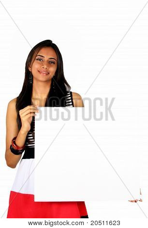 Beautiful Indian Girl Holding A White Board.