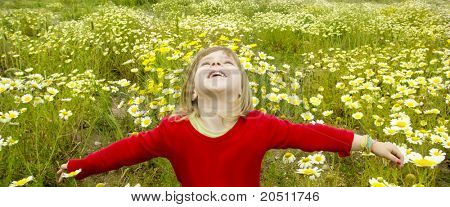 blond Kinder Mädchen offenen Armen Frühling Gänseblümchen gelbe Wiesenblumen
