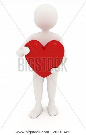 3D Man Holding Heart
