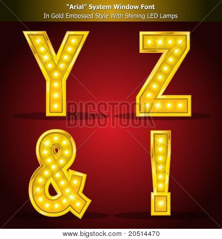 Arial Typeface in Gold Style With Shining LED Lamps