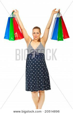 Happy Pregnant Woman At Shopping