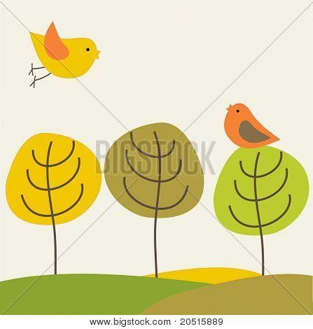 Birds on the tree. Jpeg version
