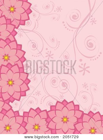 Background Stationary With Pink Flowers.
