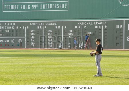 Boston - May 30: Chicago White Sox #18 Right Fielder Brent Lillibridge Warms Up Before Memorial Day