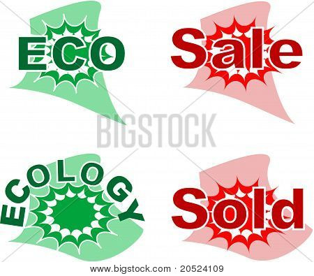 Set of sale and ecology badge