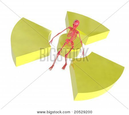 Red Skeleton And Radiation Symbol Isolated