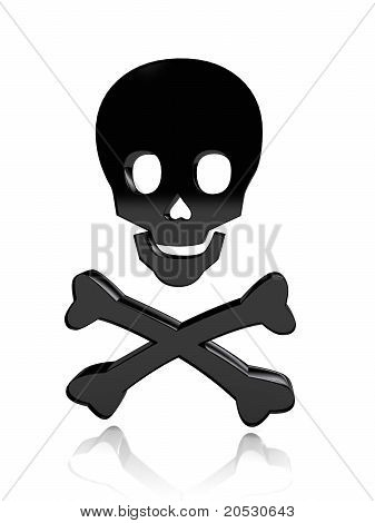 Skull with bones over white background