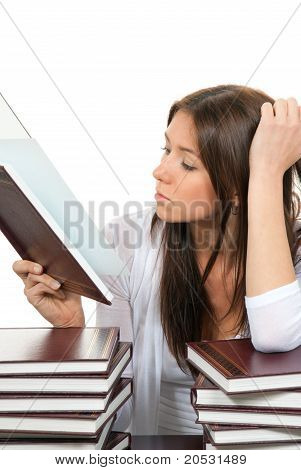 Pretty High School Or College Girl Reading Student Book