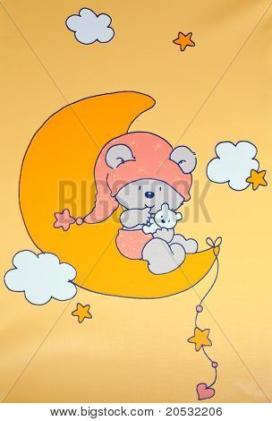 Kids Ornament- Small Baby On The Moon With Cat