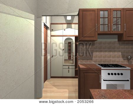 3D Render Of Small Flat