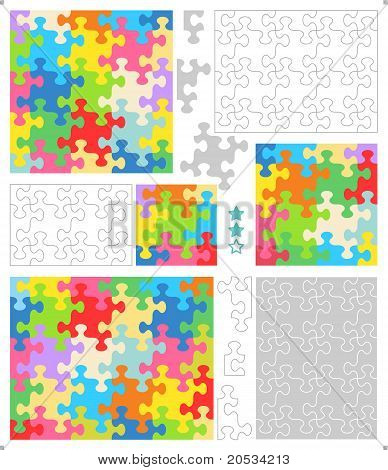 Jigsaw puzzle templates and patterns with whimsically shaped pieces