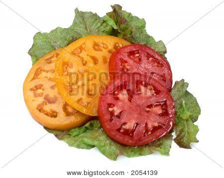 Sliced Tomatoes On Lettuce
