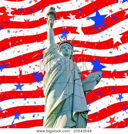 statute of liberty and abstract stars and stripes us flag for 4th july