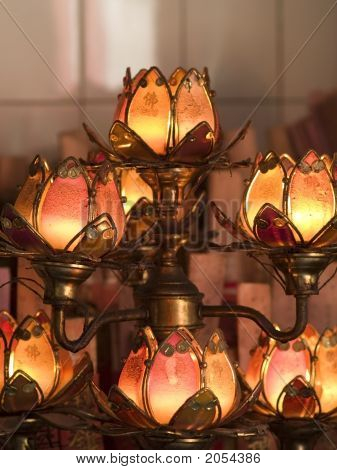 Lotus Shaped Temple Lamps