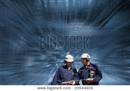 workers, engineers, set against giant motherboard, dash-board, background in slight zoom effect