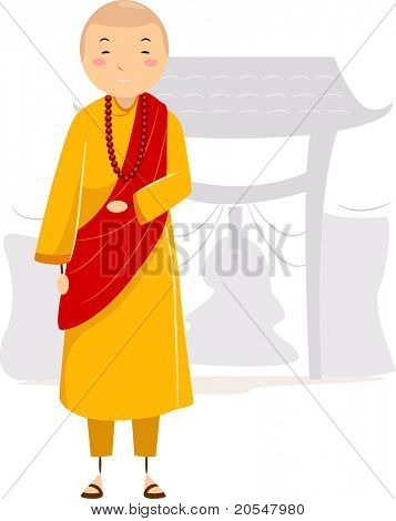 Illustration of a Monk in a Monastery