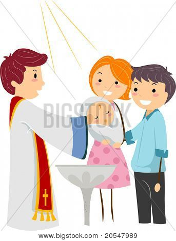 Illustration of a Priest Baptizing a Child