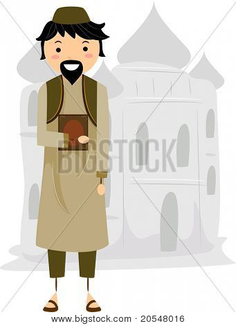 Illustration of a Muslim Near a Mosque
