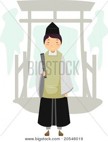 Illustration of a Shinto Priest
