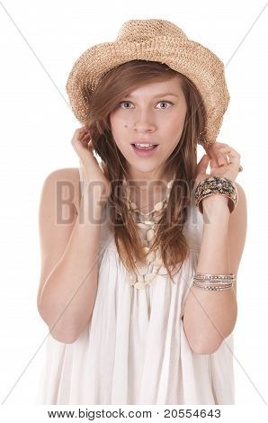 Smiling Girl In Straw Hat