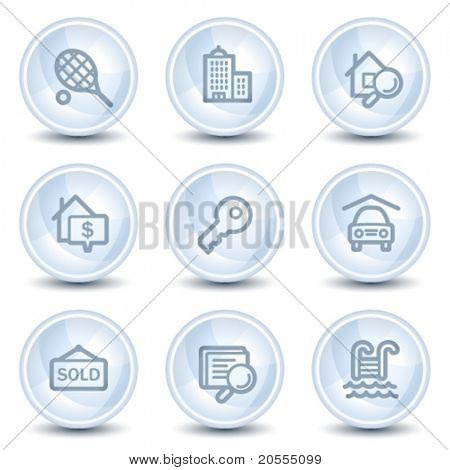 Real estate  web icons, light blue glossy circle buttons