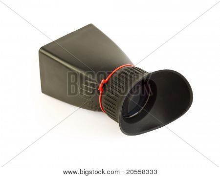 black viewfinder LCD for professional camera isolated on white