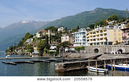 Beautiful View Of Italian City Of Switzerland Ascona. Harbour And Promenade