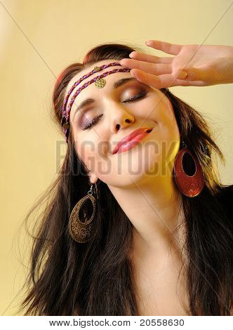 Pretty Fashion Woman In Hippy Style Make-up