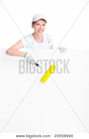 Smiling painter woman in white uniform. Isolated over white background