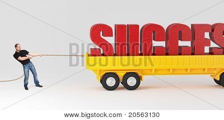 caucasian man pull huge success text on truck