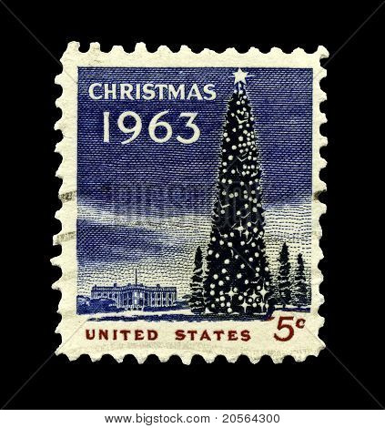 Usa 1963 Christmas Stamp, The White House And National Christmas Tree