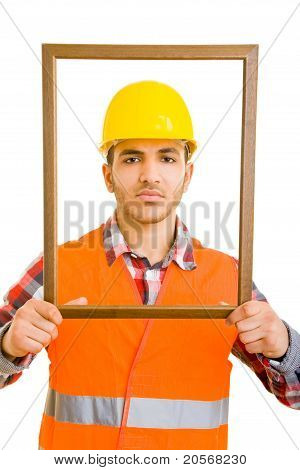 Construction Worker In Empty Frame