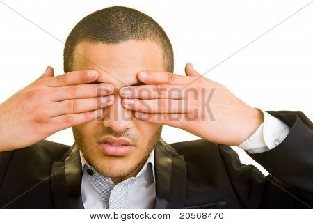 Business Man Hiding His Eyes