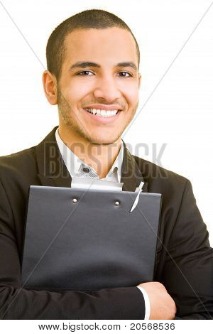 Smiling Business Man With Clipboard
