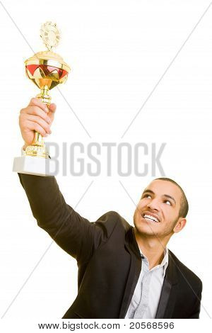 Business Man Holding Trophy